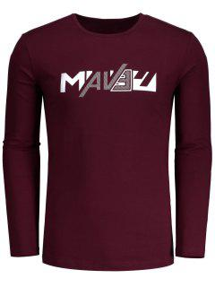 Casual Letter Mens Tee - Burgundy L