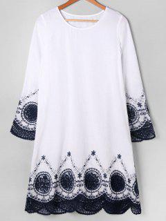 Langes Hülsenstickerei-gezacktes Kleid - Weiß L