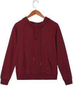 Drawstring Neck Cut Raglan Sleeve Hoodie - Rouge Vineux  2xl