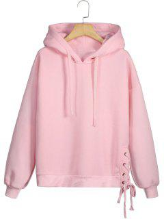 Fleece Lace-up Hoodie - Pink L