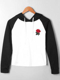 Embroidery Patched Raglan Sleeve Hoodie - Black M