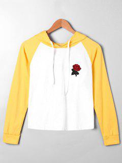 Embroidery Patched Raglan Sleeve Hoodie - Yellow Xl