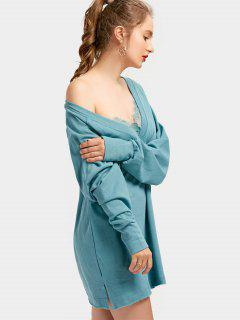 Plunging Neck Side Slit Lace Panel Dress - Blue Green L