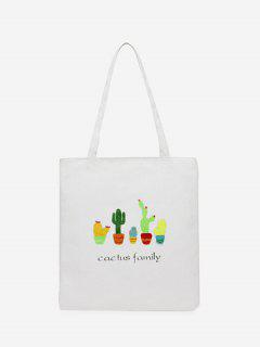 Canvas Cactus Print Shoulder Bag - White