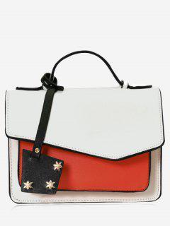 Multi Interlayers Color Block Crossbody Bag - White
