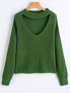 Oversized Choker Chunky Sweater - Green