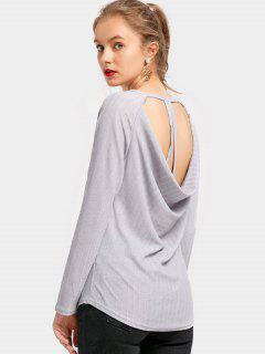 Long Sleeve Draped Backless Tee - Gray Xl