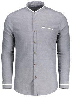 Chemise Boutonnée à Col Montant - Gris Xl