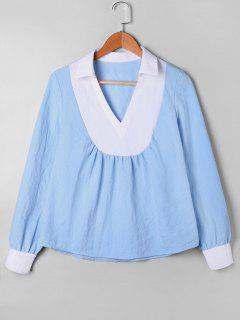Blusa De Bloqueo De Color Con Cuello En V - Azul Xl