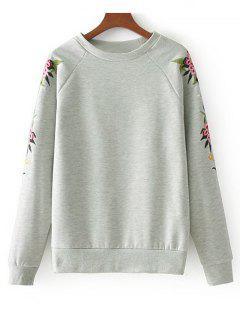 Raglan Sleeve Embroidered Sleeve Sweatshirt - Gray M