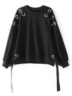 Metallic Rings Bow Tied Oversized Sweatshirt - Black M