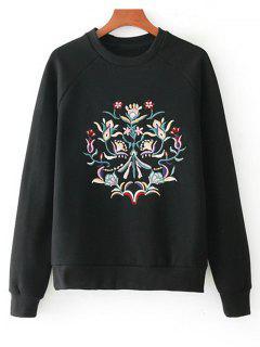 Camiseta Floral Bordada De La Manga Del Raglán - Negro S