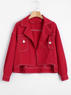 Open Front High Low Denim Jacket - Red M
