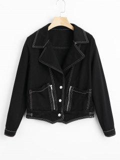 Contrasting Button Up Denim Jacket - Black Xl