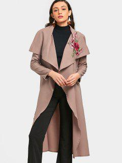 Wrapped Flower Applique Trench Coat - Pale Pinkish Grey S
