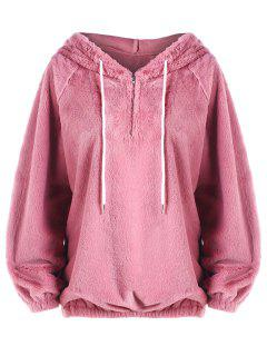 Half Zip Faux Fur Hoodie - Pink S