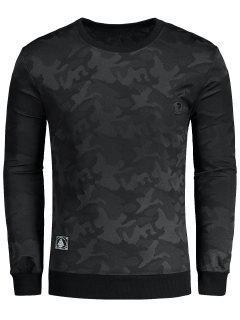 Camo Pullover Sweatshirt - Black 3xl