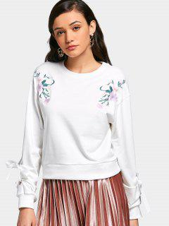 Flower Embroidered Tied Crew Neck Sweatshirt - White S