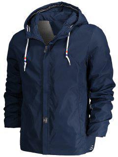 Drawstring Hood Zippered Jacket - Blue Xl