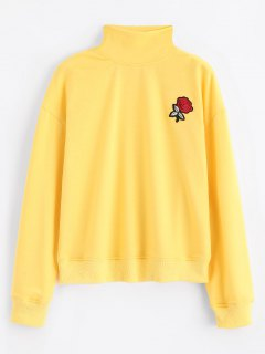 Mock Neck Rose Embroidered Patches Sweatshirt - Yellow M