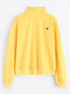 Mock Neck Skull Patches Sweatshirt - Yellow M