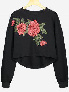 Hohes Niedriges Sweatshirt Mit Blume Patch  - Schwarz S
