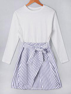 Stripe Panel Tie Front Dress - Blue + White S