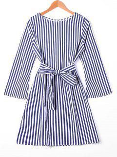 Flare Sleeve Gürtel Gestreiftes Kleid - Streifen  Xl
