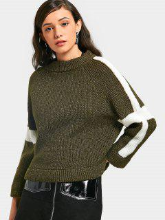 Two Tone Chunky Sweater - Army Green