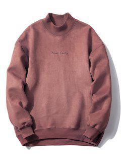 Crew Neck Graphic Print Suede Sweatshirt - Russet-red L