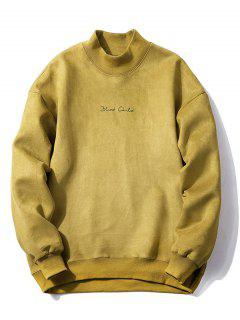 Crew Neck Graphic Print Suede Sweatshirt - Lemon Yellow M