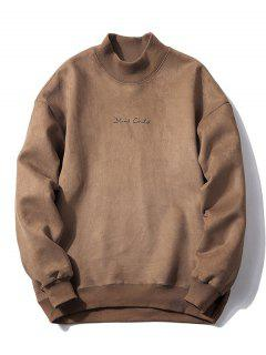 Crew Neck Graphic Print Suede Sweatshirt - Coffee M