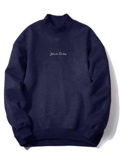 Crew Neck Graphic Print Suede Sweatshirt - Purplish Blue M