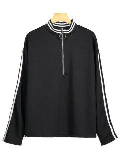 Half Zip Striped Sweatshirt - Black M