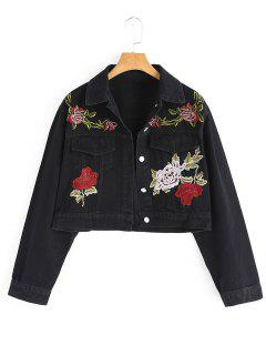 Floral Embroidered Cropped Denim Jacket - Black L