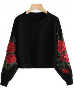 Floral Patched Crop Sweatshirt - Black M