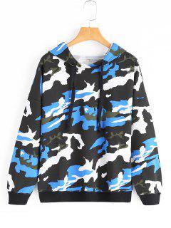 Drop Shoulder Camouflage Drawstring Hoodie - Blue M