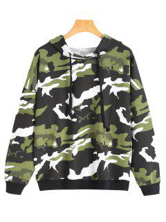 Drop Shoulder Camouflage Drawstring Hoodie - Army Green S