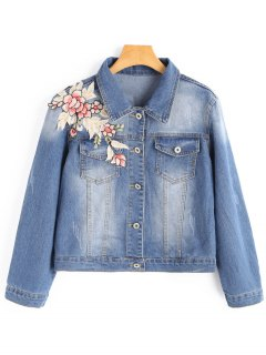 Frayed Flower Applique Denim Jacket - Light Blue S