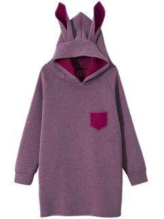 Raglan Sleeve Pocket Rabbit Hoodie - Deep Purple L