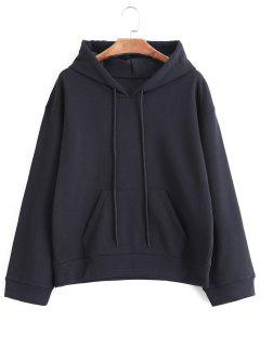 Drawstring Oversized Hoodie With Pocket - Black S