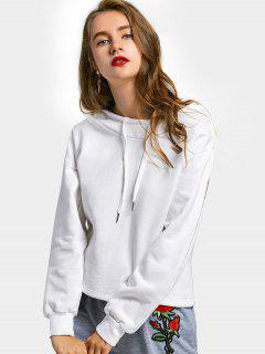Split Sleeve Drawstring Hoodie - White S