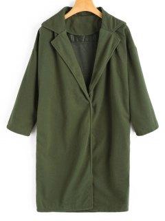 Side Slit Fleece Coat - Army Green M