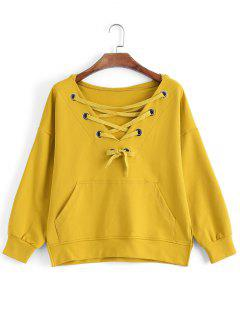 Pocket Oversized Lace Up Hoodie - Yellow M