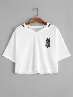 Cutout Pineapple Sequins Patches Top - White L