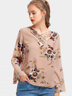 Criss Cross Blumendruck Bluse - Blumen Xl