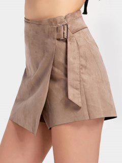 Faldas De Ante De Faux Alto De Cintura - Caqui L