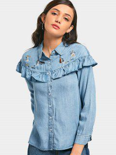Frilled Embroidered Chambray Shirt - Light Blue S