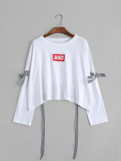 Oversized Bow Tied Cut Out Sweatshirt - White
