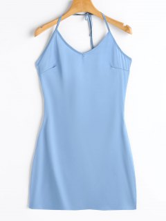 Back Zip Halter Satin Bodycon Dress - Light Blue Xl